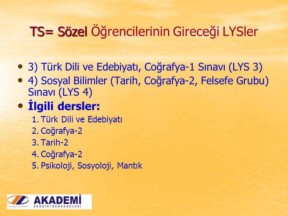 TS= Sözel TS= Sözel Öğrencilerinin Gireceği LYSler 3) Türk Dili ve Edebiyatı, Coğrafya-1 Sınavı (LYS 3) 4) Sosyal Bilimler (Tarih, Coğrafya-2, Felsefe Grubu) Sınavı (LYS 4) İlgili dersler: 1.