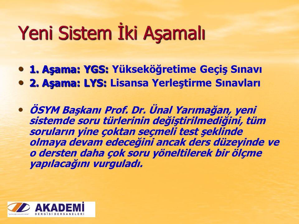Yeni Sistem İki Aşamalı 1. Aşama: YGS: 1. Aşama: YGS: Yükseköğretime Geçiş Sınavı 2. Aşama: LYS: 2. Aşama: LYS: Lisansa Yerleştirme Sınavları ÖSYM Baş