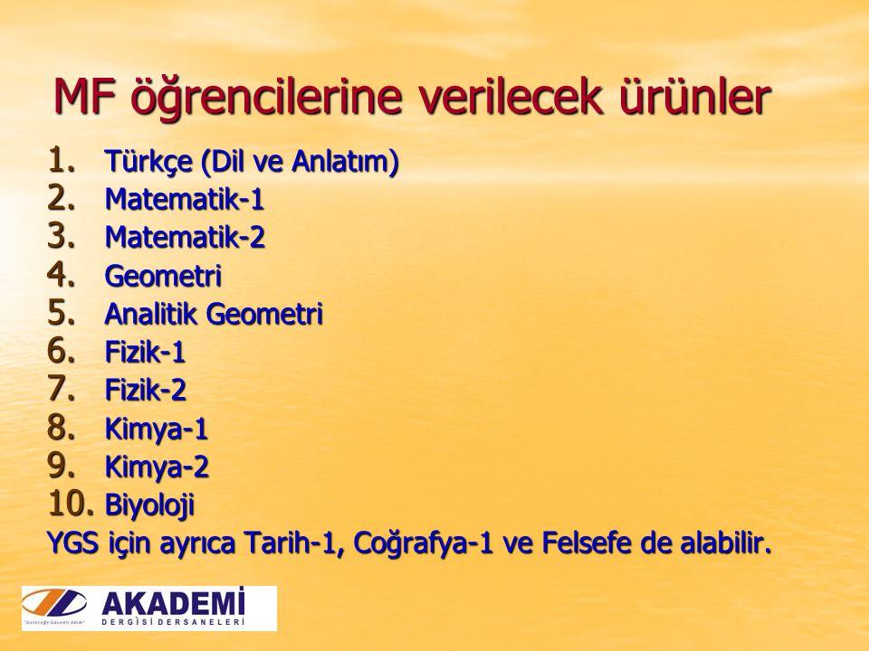 MF öğrencilerine verilecek ürünler 1. Türkçe (Dil ve Anlatım) 2. Matematik-1 3. Matematik-2 4. Geometri 5. Analitik Geometri 6. Fizik-1 7. Fizik-2 8.