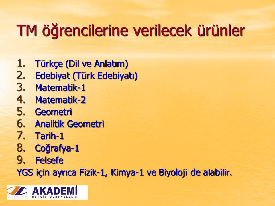 TM öğrencilerine verilecek ürünler 1. Türkçe (Dil ve Anlatım) 2. Edebiyat (Türk Edebiyatı) 3. Matematik-1 4. Matematik-2 5. Geometri 6. Analitik Geome