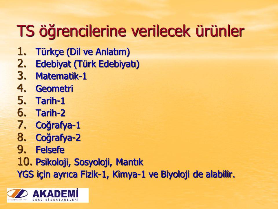 TS öğrencilerine verilecek ürünler 1. Türkçe (Dil ve Anlatım) 2.
