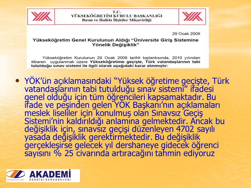 YÖK'ün açıklamasındaki Yüksek öğretime geçişte, Türk vatandaşlarının tabi tutulduğu sınav sistemi ifadesi genel olduğu için tüm öğrencileri kapsamaktadır.