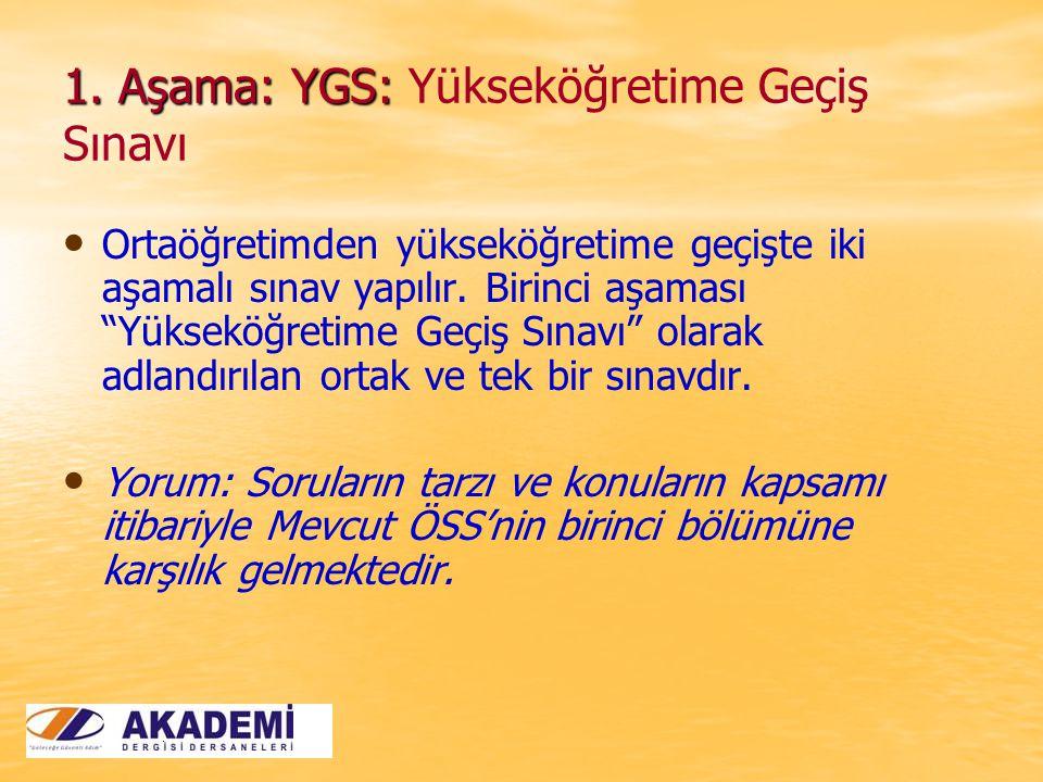 1. Aşama: YGS: 1.