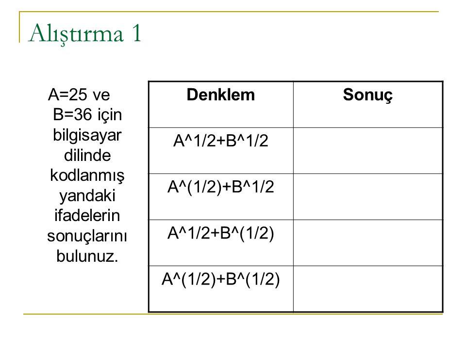 Alıştırma 1 A=25 ve B=36 için bilgisayar dilinde kodlanmış yandaki ifadelerin sonuçlarını bulunuz. DenklemSonuç A^1/2+B^1/2 A^(1/2)+B^1/2 A^1/2+B^(1/2
