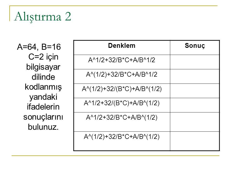 Alıştırma 2 A=64, B=16 C=2 için bilgisayar dilinde kodlanmış yandaki ifadelerin sonuçlarını bulunuz. DenklemSonuç A^1/2+32/B*C+A/B^1/2 A^(1/2)+32/B*C+