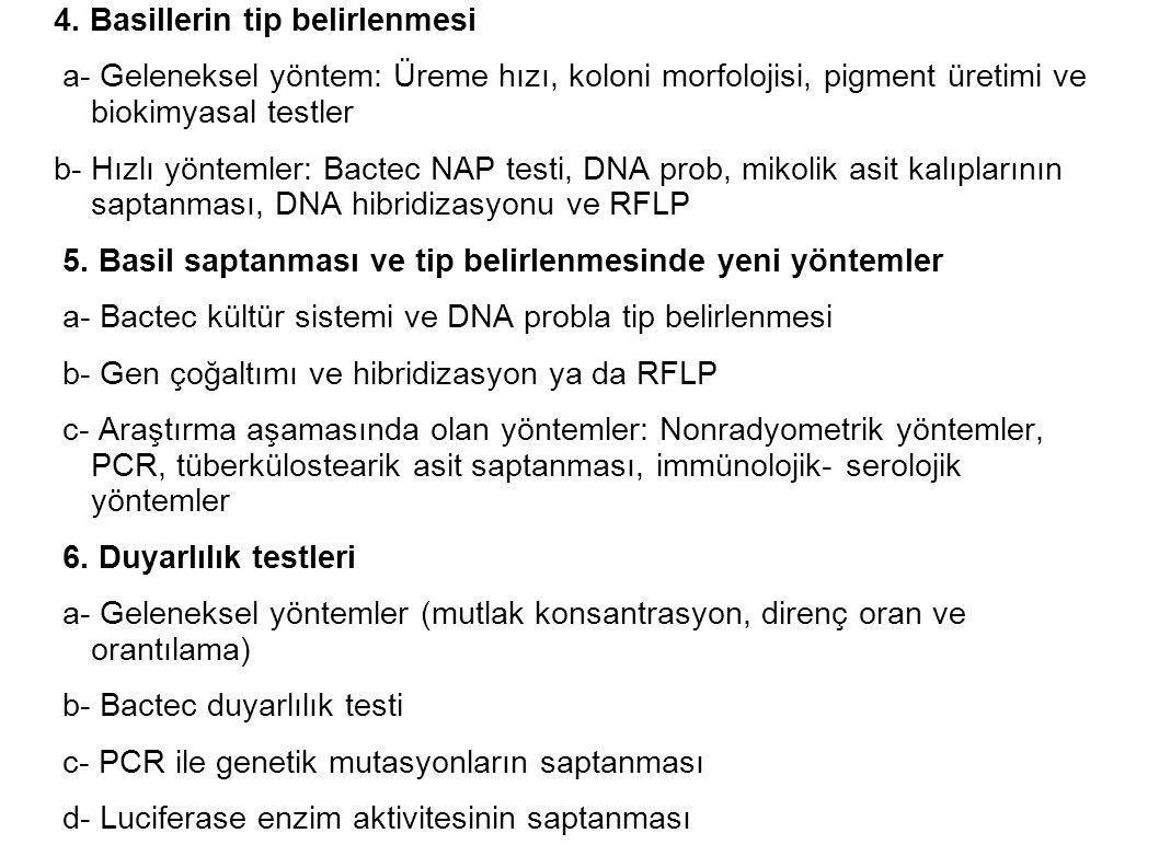 4. Basillerin tip belirlenmesi a- Geleneksel yöntem: Üreme hızı, koloni morfolojisi, pigment üretimi ve biokimyasal testler b- Hızlı yöntemler: Bactec