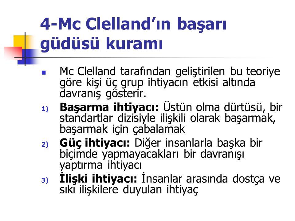 4-Mc Clelland'ın başarı güdüsü kuramı Mc Clelland tarafından geliştirilen bu teoriye göre kişi üç grup ihtiyacın etkisi altında davranış gösterir. 1)