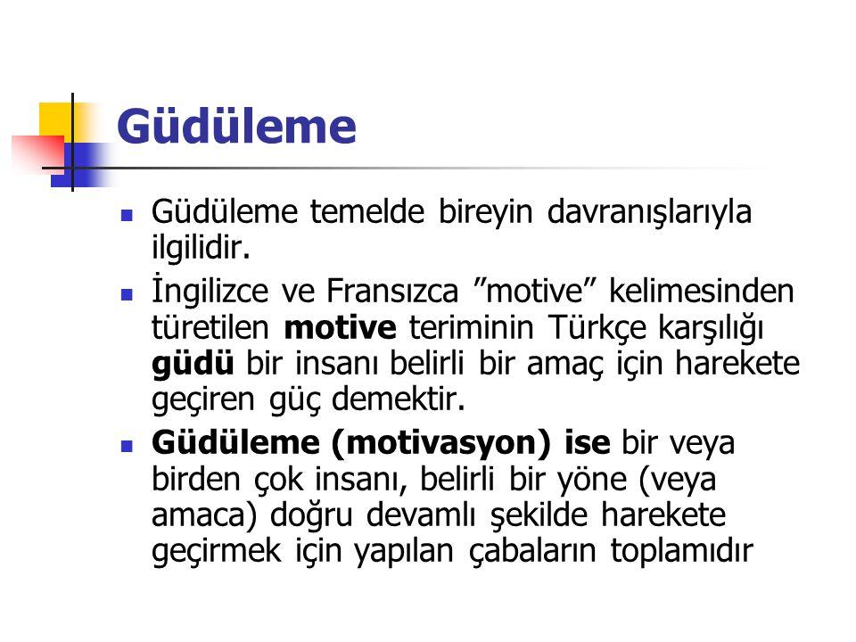 """Güdüleme Güdüleme temelde bireyin davranışlarıyla ilgilidir. İngilizce ve Fransızca """"motive"""" kelimesinden türetilen motive teriminin Türkçe karşılığı"""