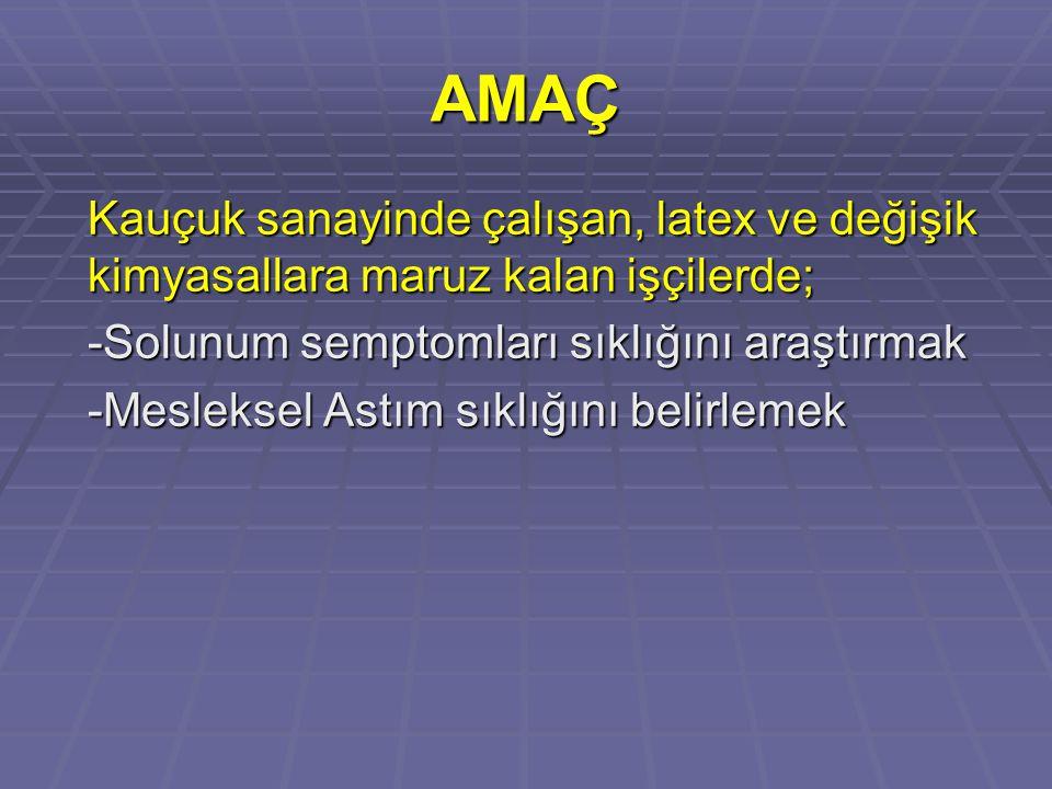 MATERYAL ve METOD  Nisan 2006- Haziran 2006 tarihleri arasında Zonguldak Devrek Sanayi bölgesinde bir kauçuk fabrikasında çalışanlar  151 işçiden gönüllü olarak çalışmaya katılmayı kabul eden 141 işçi çalışmaya alındı  Anamnez  Fizik muayene  Solunum fonksiyon testleri
