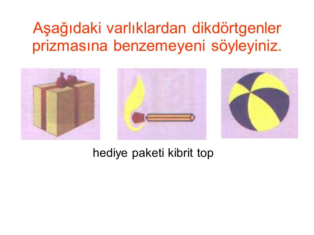 Aşağıdaki varlıklardan dikdörtgenler prizmasına benzemeyeni söyleyiniz. hediye paketi kibrit top