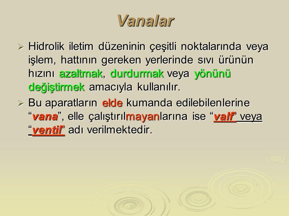 Vanalar  Hidrolik iletim düzeninin çeşitli noktalarında veya işlem, hattının gereken yerlerinde sıvı ürünün hızını azaltmak, durdurmak veya yönünü de