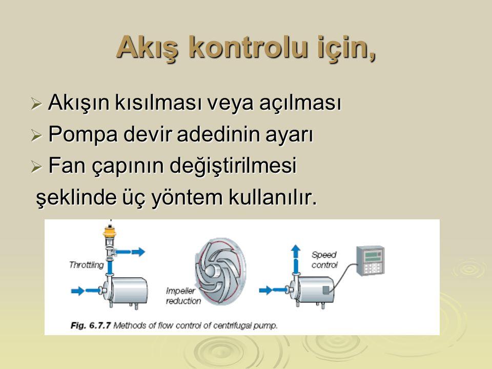 Akış kontrolu için,  Akışın kısılması veya açılması  Pompa devir adedinin ayarı  Fan çapının değiştirilmesi şeklinde üç yöntem kullanılır. şeklinde