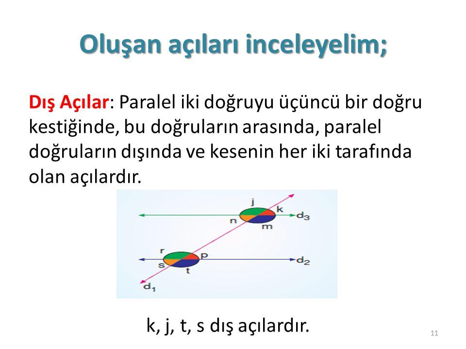 Oluşan açıları inceleyelim; Dış Açılar: Paralel iki doğruyu üçüncü bir doğru kestiğinde, bu doğruların arasında, paralel doğruların dışında ve kesenin