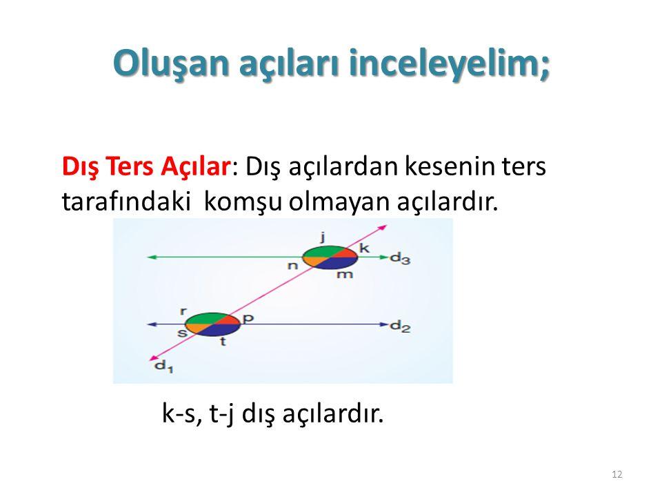 Oluşan açıları inceleyelim; Dış Ters Açılar: Dış açılardan kesenin ters tarafındaki komşu olmayan açılardır. k-s, t-j dış açılardır. 12