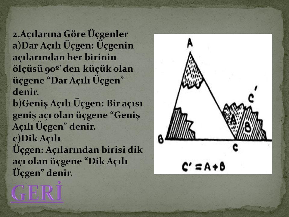 """2.Açılarına Göre Üçgenler a)Dar Açılı Üçgen: Üçgenin açılarından her birinin ölçüsü 90º`den küçük olan üçgene """"Dar Açılı Üçgen"""" denir. b)Geniş Açılı Ü"""