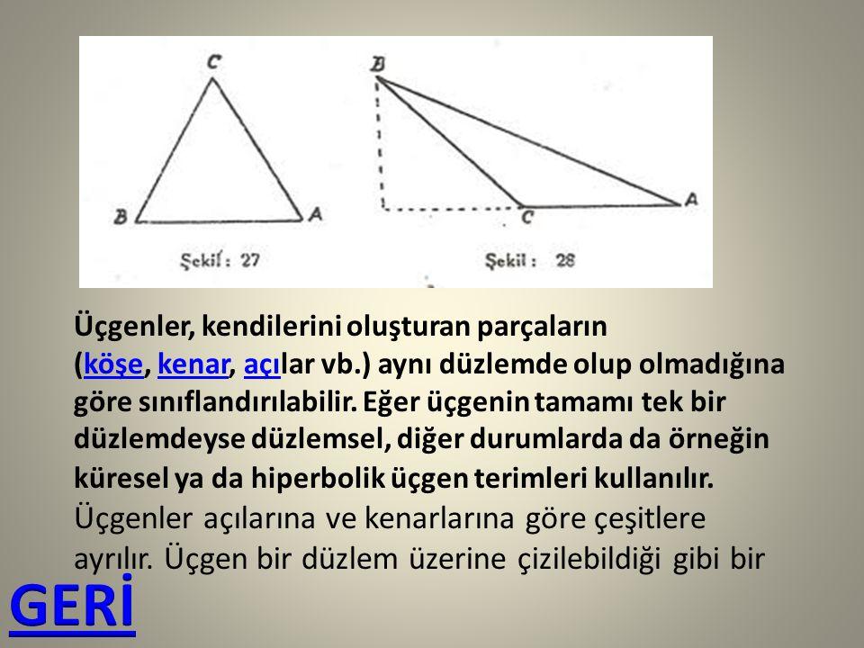 Üçgenler, kendilerini oluşturan parçaların (köşe, kenar, açılar vb.) aynı düzlemde olup olmadığına göre sınıflandırılabilir. Eğer üçgenin tamamı tek b