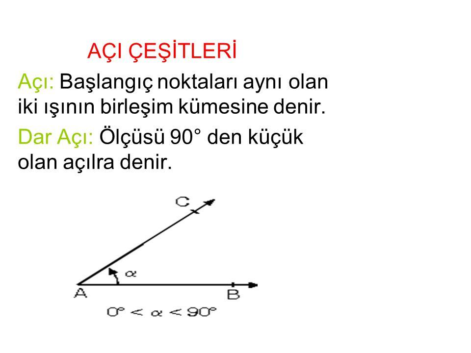 AÇI ÇEŞİTLERİ Açı: Başlangıç noktaları aynı olan iki ışının birleşim kümesine denir. Dar Açı: Ölçüsü 90° den küçük olan açılra denir.