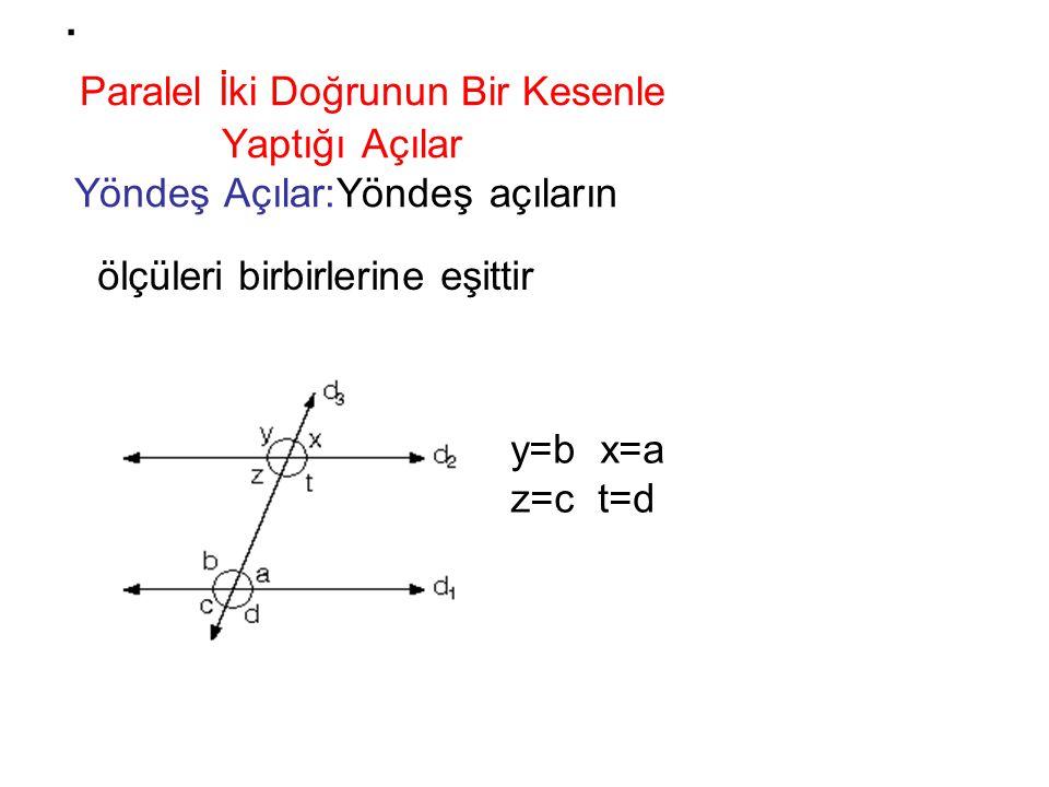 . Paralel İki Doğrunun Bir Kesenle Yaptığı Açılar Yöndeş Açılar:Yöndeş açıların y=b x=a z=c t=d ölçüleri birbirlerine eşittir