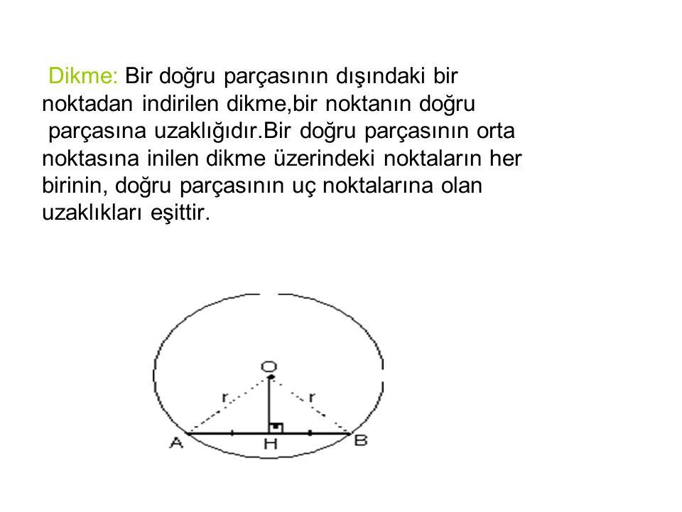 Dikme: Bir doğru parçasının dışındaki bir noktadan indirilen dikme,bir noktanın doğru parçasına uzaklığıdır.Bir doğru parçasının orta noktasına inilen