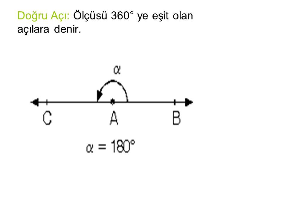 Doğru Açı: Ölçüsü 360° ye eşit olan açılara denir.