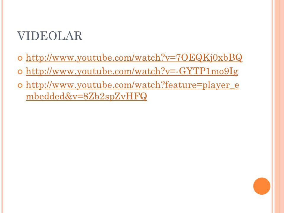 VIDEOLAR http://www.youtube.com/watch?v=7OEQKj0xbBQ http://www.youtube.com/watch?v=-GYTP1mo9Ig http://www.youtube.com/watch?feature=player_e mbedded&v