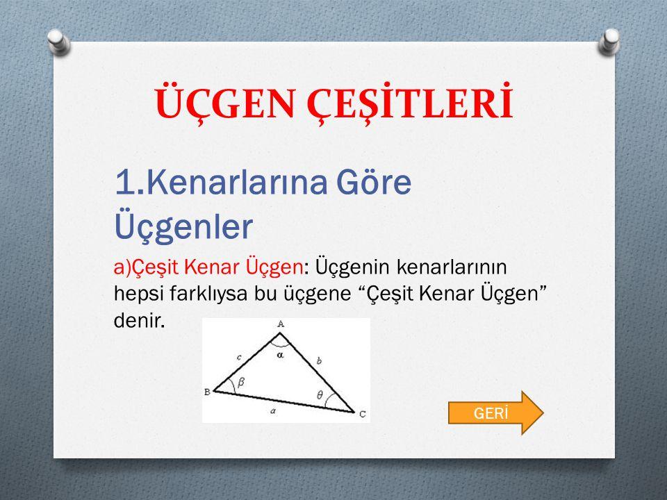 """ÜÇGEN ÇEŞİTLERİ 1.Kenarlarına Göre Üçgenler a)Çeşit Kenar Üçgen: Üçgenin kenarlarının hepsi farklıysa bu üçgene """"Çeşit Kenar Üçgen"""" denir. GERİ"""
