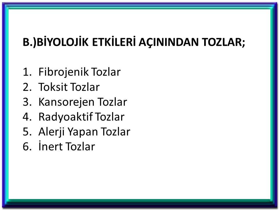 B.)BİYOLOJİK ETKİLERİ AÇININDAN TOZLAR; 1.Fibrojenik Tozlar 2.Toksit Tozlar 3.Kansorejen Tozlar 4.Radyoaktif Tozlar 5.Alerji Yapan Tozlar 6.İnert Tozl