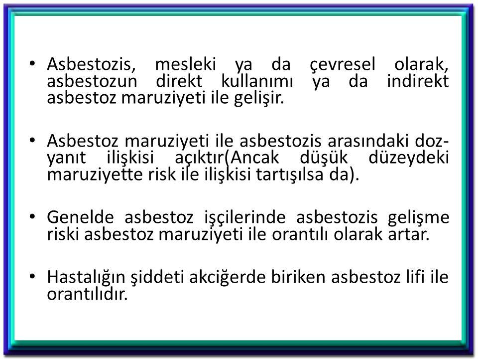 Asbestozis, mesleki ya da çevresel olarak, asbestozun direkt kullanımı ya da indirekt asbestoz maruziyeti ile gelişir. Asbestoz maruziyeti ile asbesto