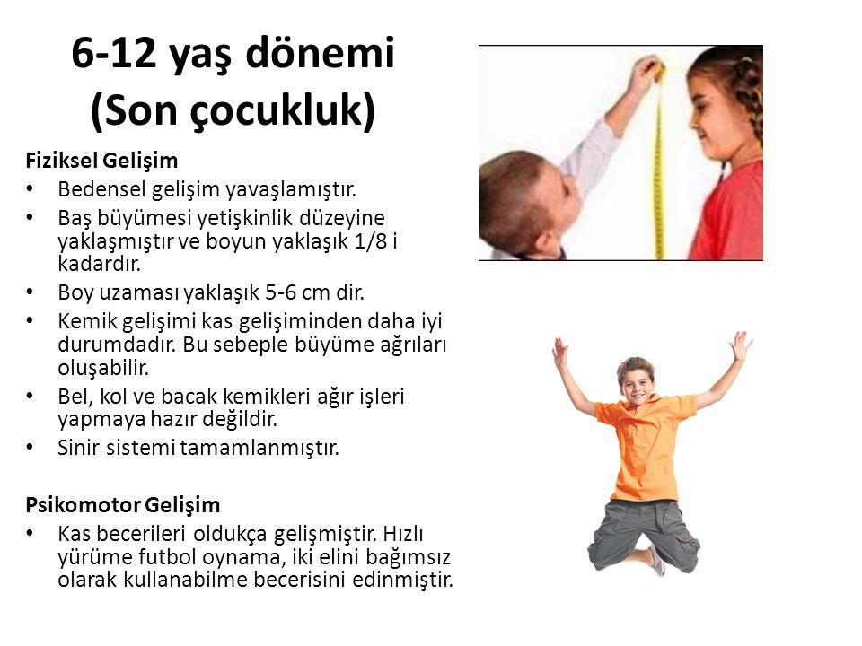 6-12 yaş dönemi (Son çocukluk) Fiziksel Gelişim Bedensel gelişim yavaşlamıştır. Baş büyümesi yetişkinlik düzeyine yaklaşmıştır ve boyun yaklaşık 1/8 i