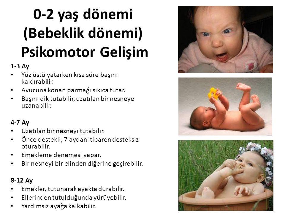 0-2 yaş dönemi (Bebeklik dönemi) Psikomotor Gelişim 1-3 Ay Yüz üstü yatarken kısa süre başını kaldırabilir. Avucuna konan parmağı sıkıca tutar. Başını