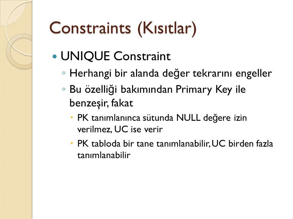 Constraints (Kısıtlar) Örne ğ in musteriler tablosunda must_id PK olarak tanımlanırken, must_email UC olarak tanımlanmaktadır Çünkü must_email bilgisi tekrar etmemelidir, zaten tabloda bir PK oldu ğ u için de mecburen UC olarak tanımlanır