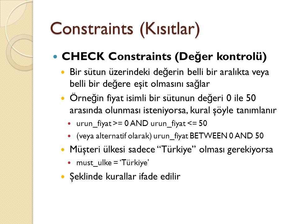 Constraints (Kısıtlar) CHECK Constraints (De ğ er kontrolü) Bir sütun üzerindeki de ğ erin belli bir aralıkta veya belli bir de ğ ere eşit olmasını sa