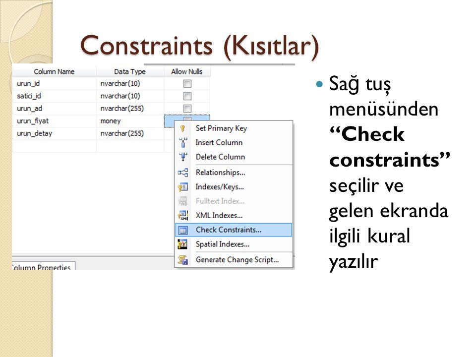 Constraints (Kısıtlar) Add tuşu ile yeni eklenir Expression kısmına ilgili ifade (kural) yazılır