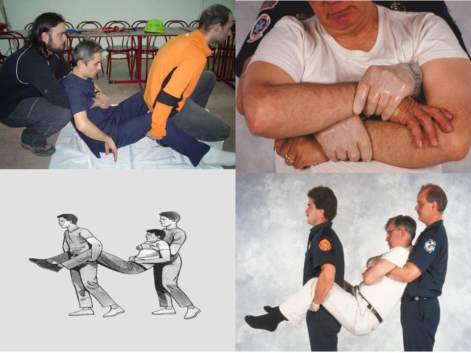 Kısa Mesafede Süratli Taşıma Teknikleri 6-Kollar ve Bacaklardan Tutarak Taşıma: Hasta/yaralı bir yerden kaldırılarak hemen başka bir yere aktarılacaks