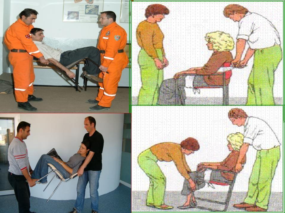 Kısa Mesafede Süratli Taşıma Teknikleri 7-Sandalye İle Taşıma: Hasta/yaralının bilinçli olması gereklidir. Özellikle merdiven inip çıkarken çok kullan