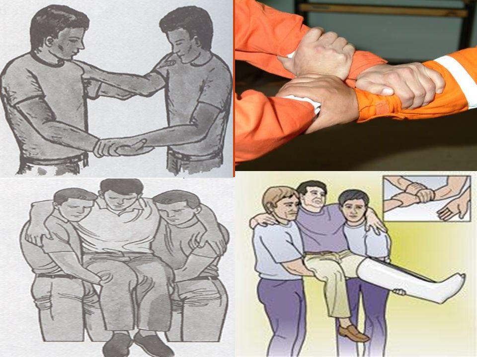 Kısa Mesafede Süratli Taşıma Teknikleri 5-Altın Beşik --Üç elle: Birinci ilkyardımcı bir eli ile ikinci ilkyardımcının omzunu kavrar, diğer eli ile ik