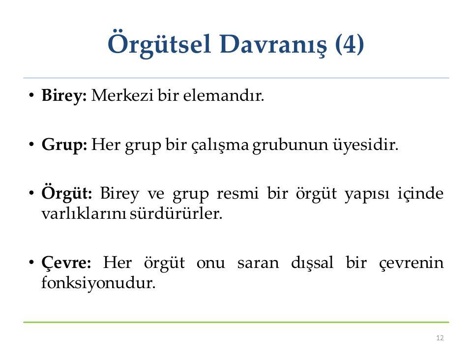 Örgütsel Davranış (4) Birey: Merkezi bir elemandır. Grup: Her grup bir çalışma grubunun üyesidir. Örgüt: Birey ve grup resmi bir örgüt yapısı içinde v