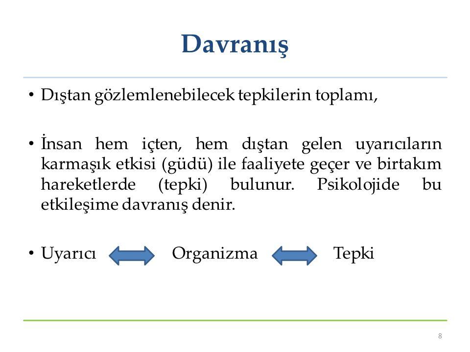 Davranış Hakkında Genellemeler (1) 19 İnsan yaşamı boyunca genellemeler yapar.