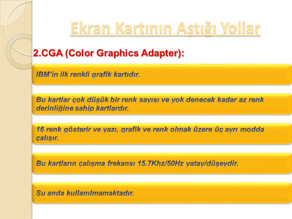 Ekran Kartının Aştığı Yollar 1.MDA (monochrome Display Adapter):