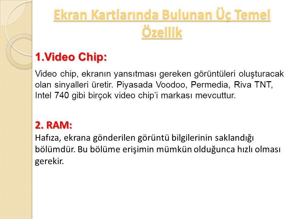 RAM RAMDAC Video Chip Ekran Kartlarında Bulunan Üç Temel Özellik