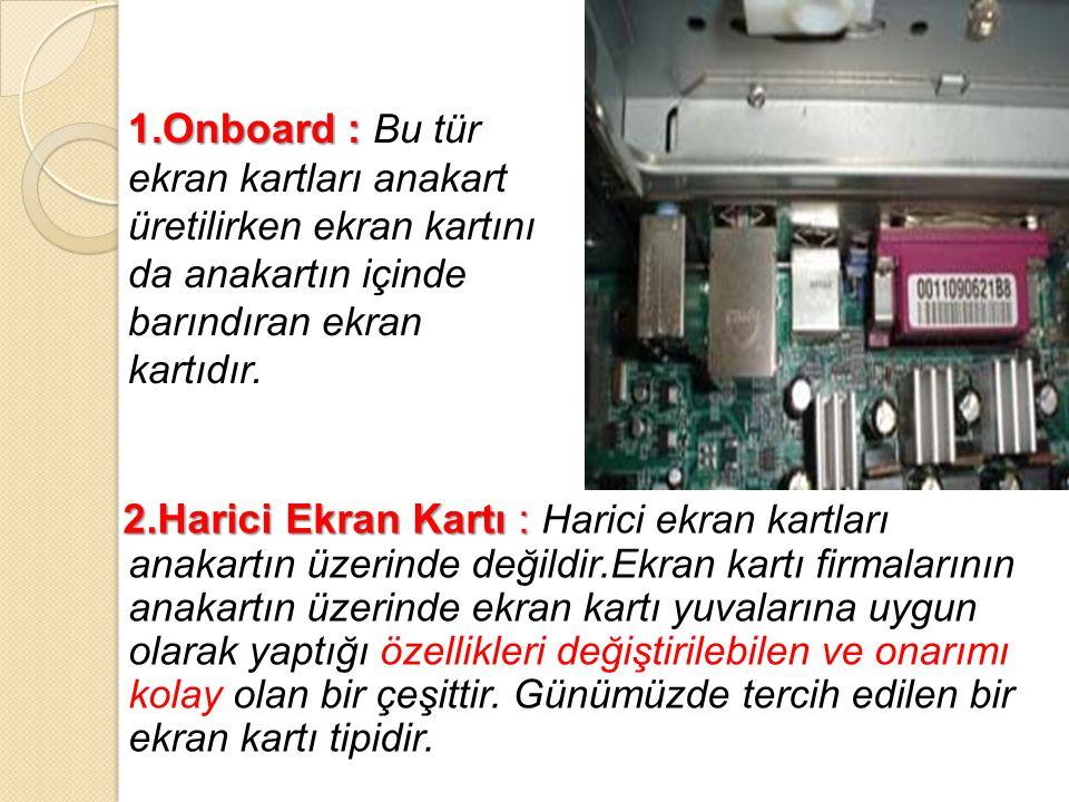 Ekran kartı bilgisayar sisteminin 4 bileşenini kullanır.
