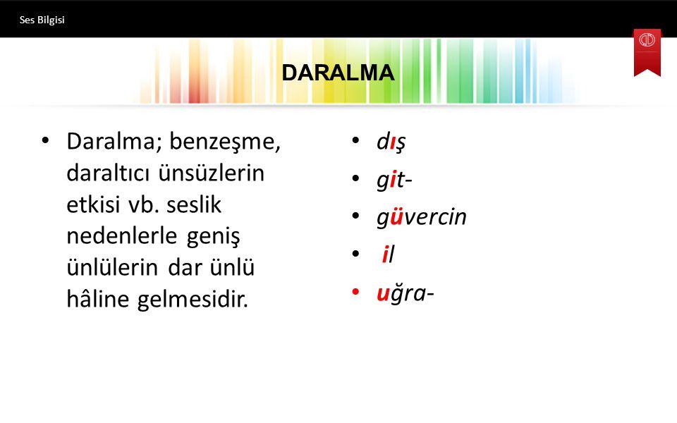 DARALMA Ses Bilgisi Daralma; benzeşme, daraltıcı ünsüzlerin etkisi vb.