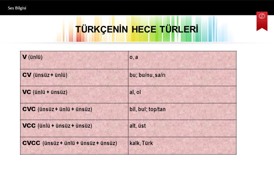 TÜRKÇENİN HECE TÜRLERİ V (ünlü) o, a CV (ünsüz + ünlü) bu; bu/nu, sa/rı VC (ünlü + ünsüz) al, ol CVC (ünsüz + ünlü + ünsüz) bil, bul; top/tan VCC (ünlü + ünsüz + ünsüz) alt, üst CVCC (ünsüz + ünlü + ünsüz + ünsüz) kalk, Türk Ses Bilgisi