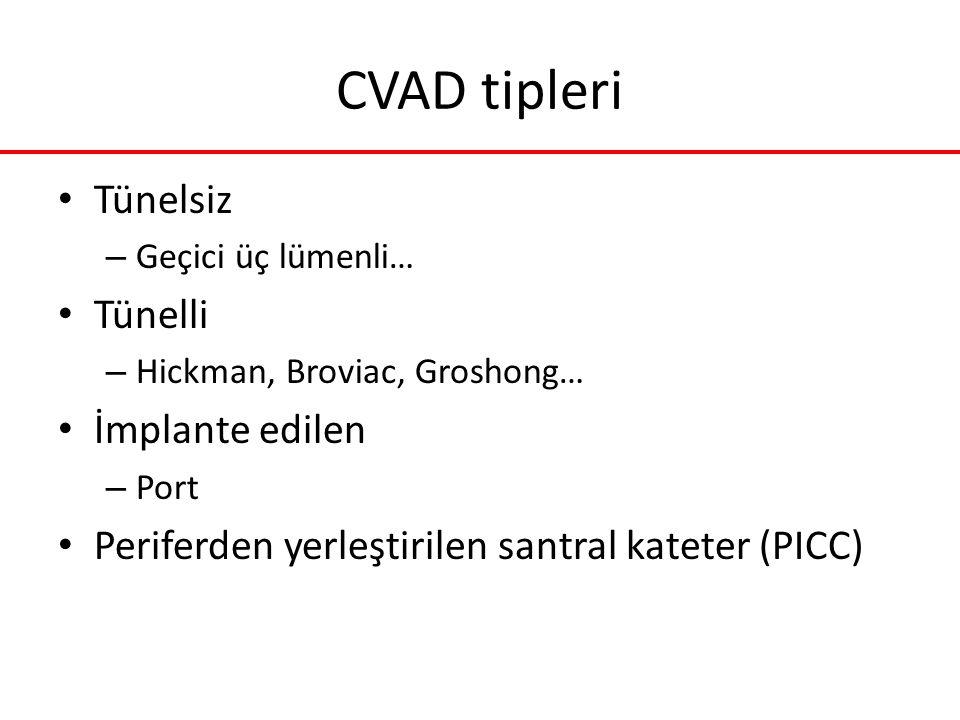 CVAD tipleri Tünelsiz – Geçici üç lümenli… Tünelli – Hickman, Broviac, Groshong… İmplante edilen – Port Periferden yerleştirilen santral kateter (PICC
