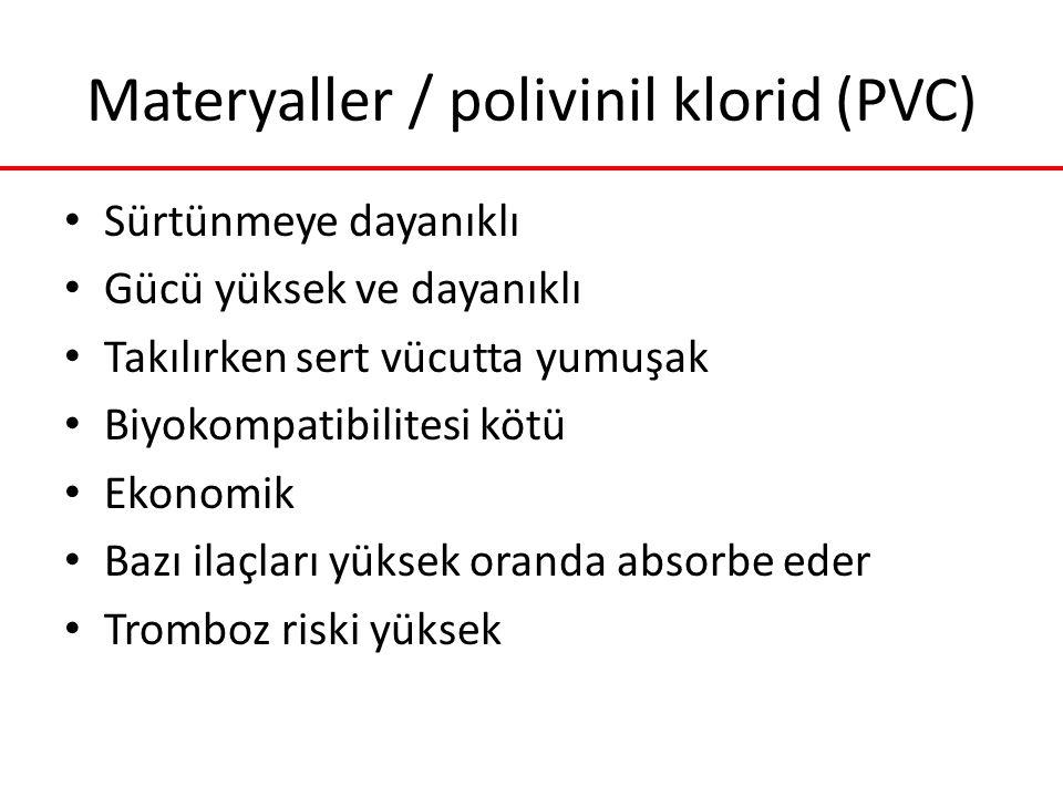 Materyaller / polivinil klorid (PVC) Sürtünmeye dayanıklı Gücü yüksek ve dayanıklı Takılırken sert vücutta yumuşak Biyokompatibilitesi kötü Ekonomik B