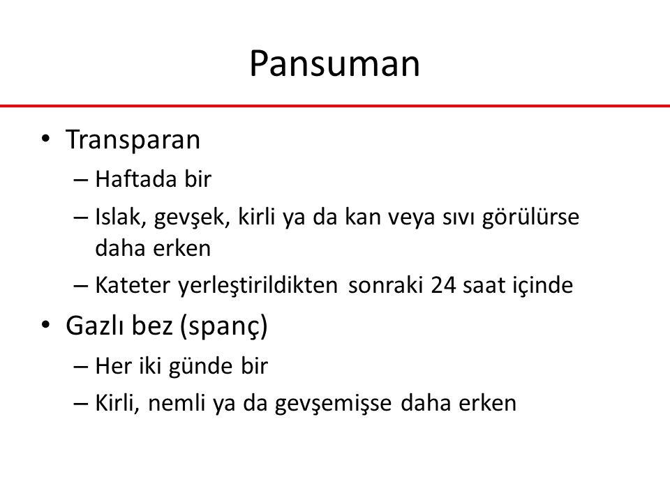 Pansuman Transparan – Haftada bir – Islak, gevşek, kirli ya da kan veya sıvı görülürse daha erken – Kateter yerleştirildikten sonraki 24 saat içinde G