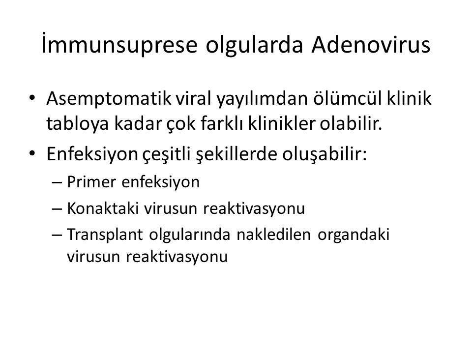 İmmunsuprese olgularda Adenovirus Asemptomatik viral yayılımdan ölümcül klinik tabloya kadar çok farklı klinikler olabilir. Enfeksiyon çeşitli şekille