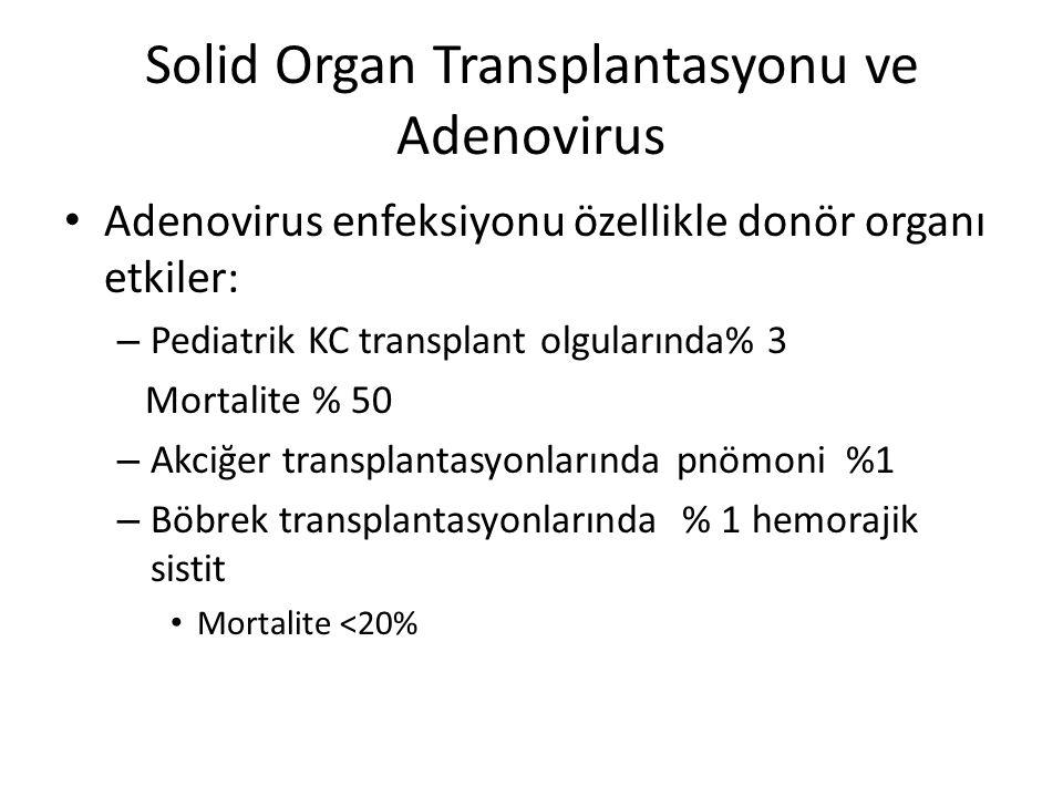 Solid Organ Transplantasyonu ve Adenovirus Adenovirus enfeksiyonu özellikle donör organı etkiler: – Pediatrik KC transplant olgularında% 3 Mortalite %