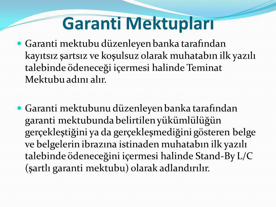 Garanti Mektupları Garanti mektubu düzenleyen banka tarafından kayıtsız şartsız ve koşulsuz olarak muhatabın ilk yazılı talebinde ödeneceği içermesi halinde Teminat Mektubu adını alır.