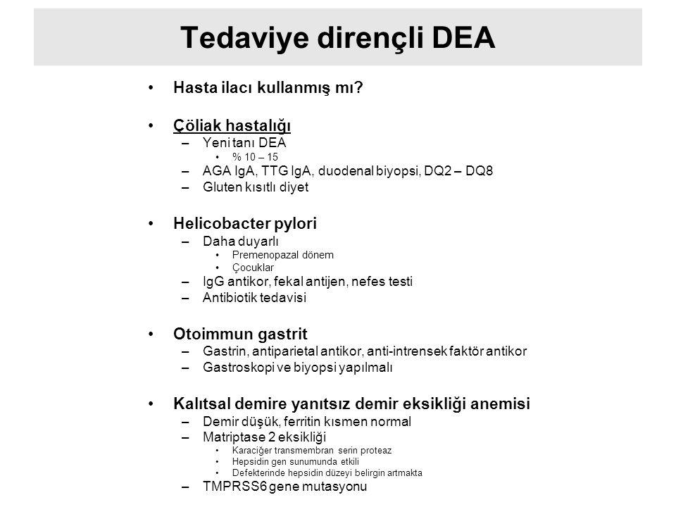 Tedaviye dirençli DEA Hasta ilacı kullanmış mı? Çöliak hastalığı –Yeni tanı DEA % 10 – 15 –AGA IgA, TTG IgA, duodenal biyopsi, DQ2 – DQ8 –Gluten kısıt